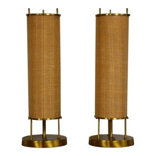 Vintage Modern Brass Table Lamps- a Pair For Sale