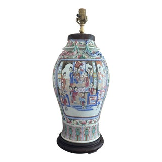 Antique Chinese Canton Famile Rose Vase Table Lamp For Sale