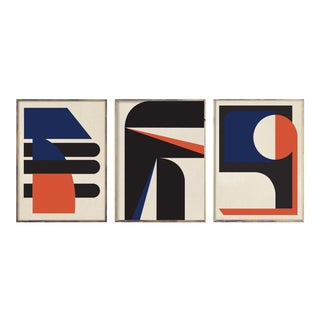 """18""""x24"""" Abstract Blue Orange Graphic Triptych - 3 Pieces For Sale"""