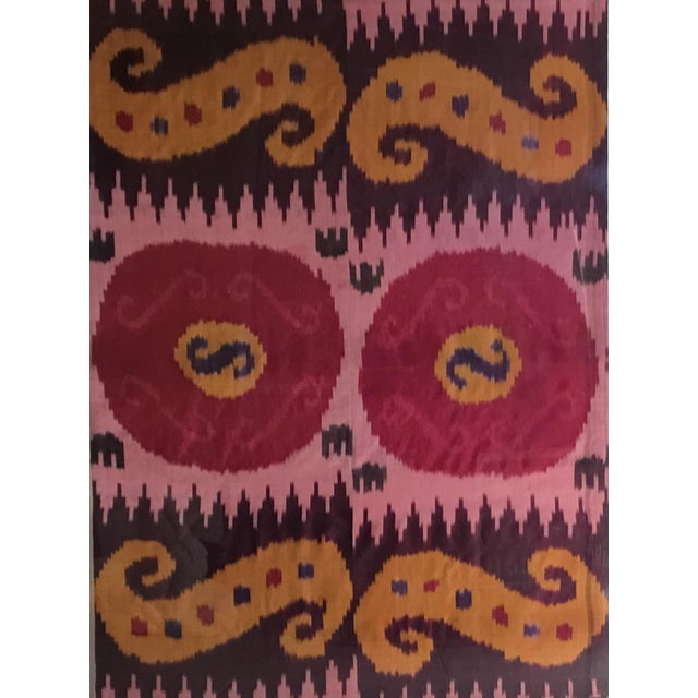 Mid-Century Modern Antique Silk Ikat Display in Lucite Shadowbox For Sale - Image 3 of 13