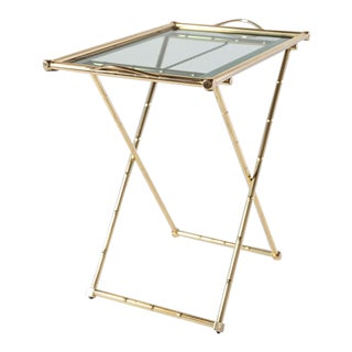 Brass and Glass X-Tray Folding Side Table For Sale