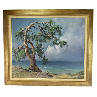 1960s Expressionist Oil Painting of Oil Painting Windswept Beach Tree by Fred Fredden Goldberg For Sale