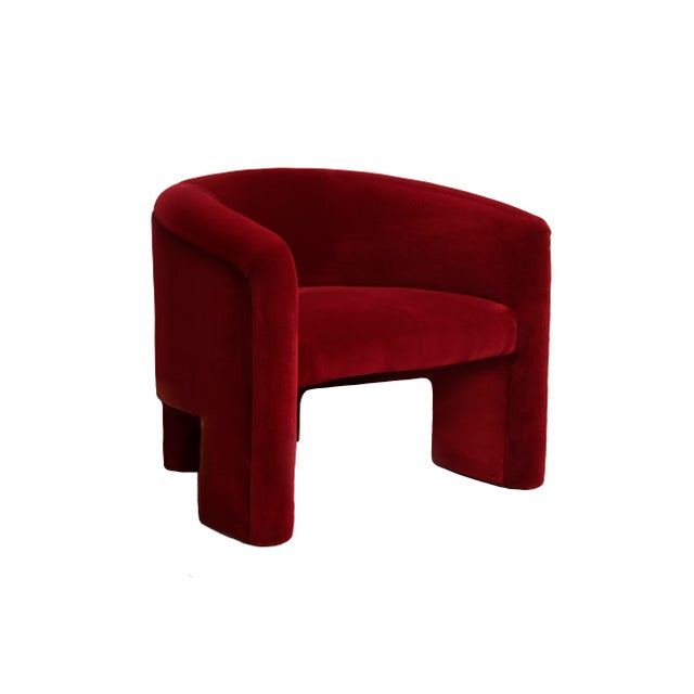 Contemporary Vladimir Kagan Style Lounge Chairs Reupholstered in Plush Red Velvet For Sale - Image 3 of 7