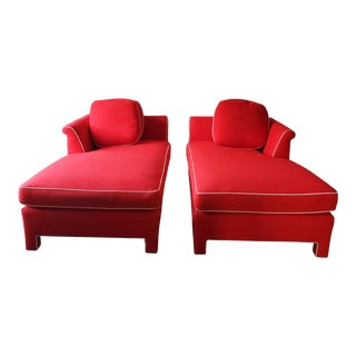 1990s Vintage Milo Baughman Style Custom Chaise Lounge Chairs- A Pair For Sale