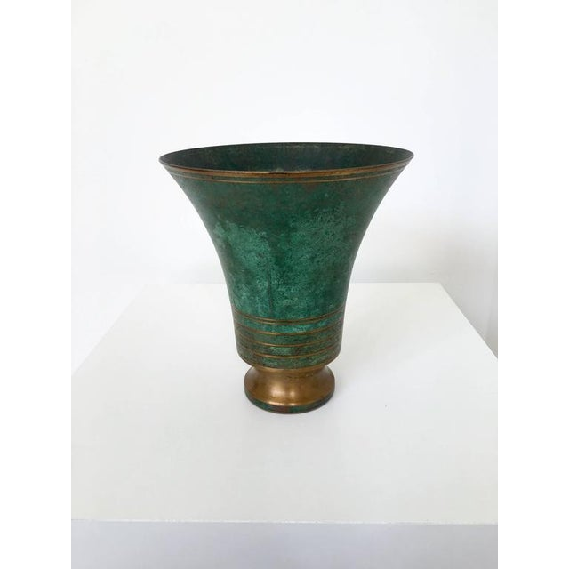 Carl Sorensen Signed Bronze Verdigris Vases For Sale - Image 10 of 10