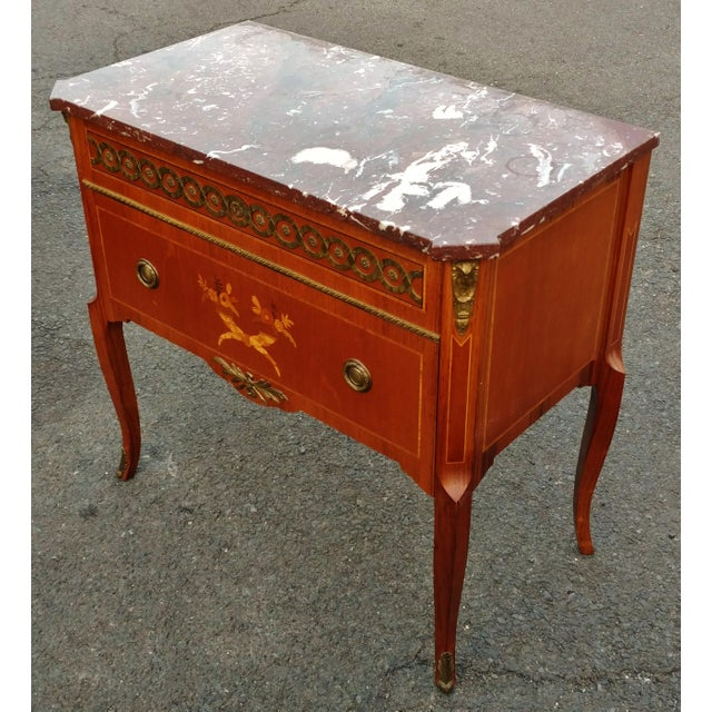 French 19th Century French Bronze Inlaid Marble Top Commode For Sale - Image 3 of 11