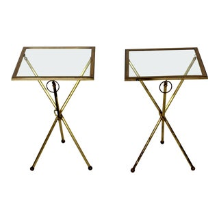 1950s Mid Century Modern Brass and Glass Folding Side Tables - a Pair For Sale