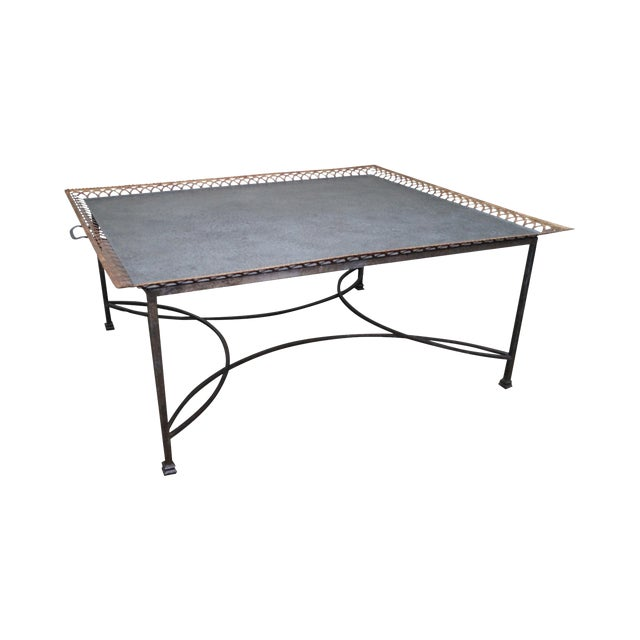 Niermann Weeks Large Regency Silver Leaf Tray Top Steel Frame Coffee Table For Sale