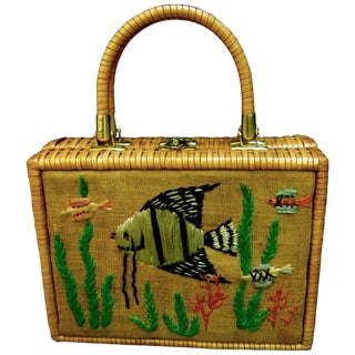 Whimsical Wicker Straw Embroidered Sea Life Handbag Ca 1960 For Sale