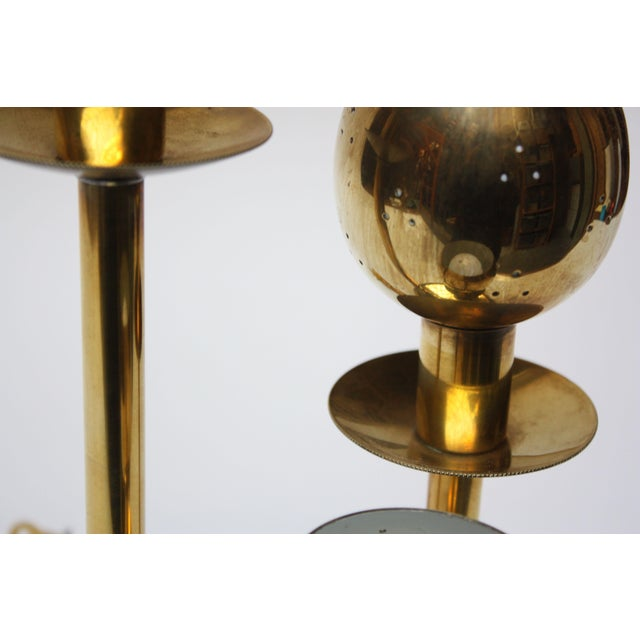 Hollywood Regency American Modern Brass Three-Fixture Table Lamp For Sale - Image 3 of 9