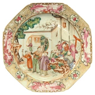 18th Century Chinese Export Famille Verte Octagonal Plate For Sale