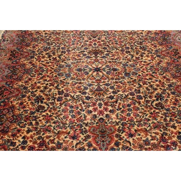 "Antique Karastan Kirman Wool Rug - 5′8″ x 9′7"" - Image 2 of 5"