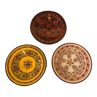 Handmade Colorful Ceramic Serving Decorative, Center Table Plates - Set of 3 For Sale