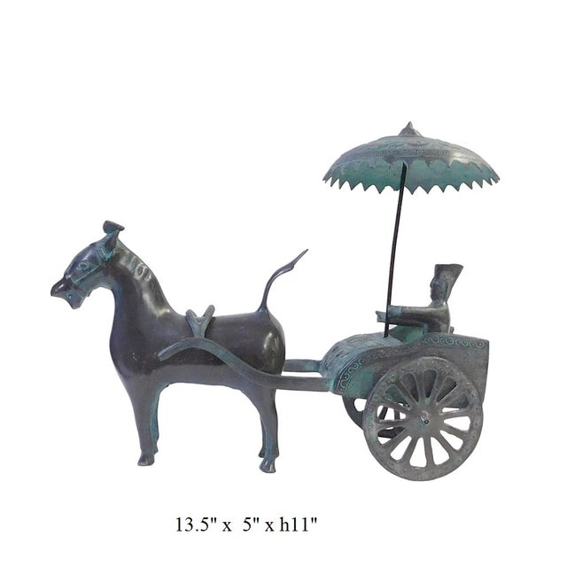 Ancient Mixed Metal Horse Cart - Image 5 of 5