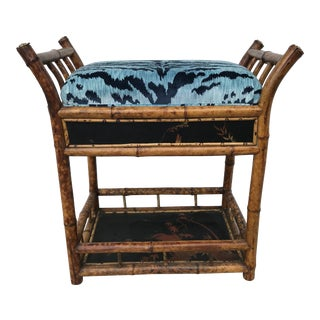 "19th Century ""Brighton"" Bamboo Bench With Bevilacqua ""Tiger"" Velvet For Sale"