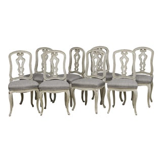 Italian Antique Patinated Dining Chairs - Set of 8