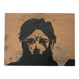 1990s Hipster Carved and Painted Woodblock Portrait For Sale