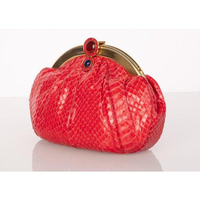 Modern Vintage Judith Leiber Red Snake Skin Clutch Bag For Sale - Image 3 of 7