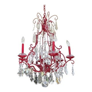 Vintage Red Finish Bronze + Crystal 9-Light Chandelier For Sale