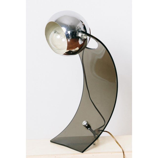 Transparent Vintage Smoked Lucite Eyeball Arc Lamp For Sale - Image 8 of 8