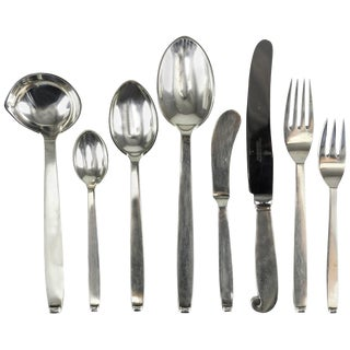 Five-Piece Flatware Service for Eight by Evald Nielsen Danish Silver, Pattern 29 For Sale