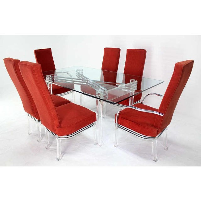 "Very nice mid century modern dining table 6 chairs set. Table 42""(D) x 60""(W) x 30""(H), chair 23""(D) x 21""(W) x 45""(H)"