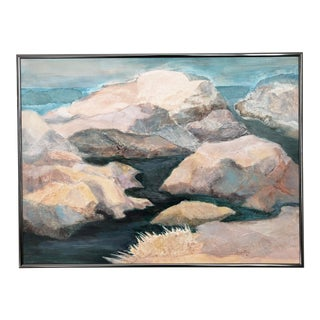 Vintage Impressionist Mountainscape Painting - Lobos Rocks by June Coy For Sale