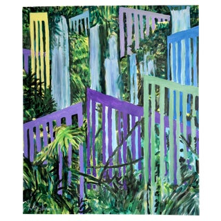 "Modern ""Jungle With Bridges"" Acrylic Painting For Sale"