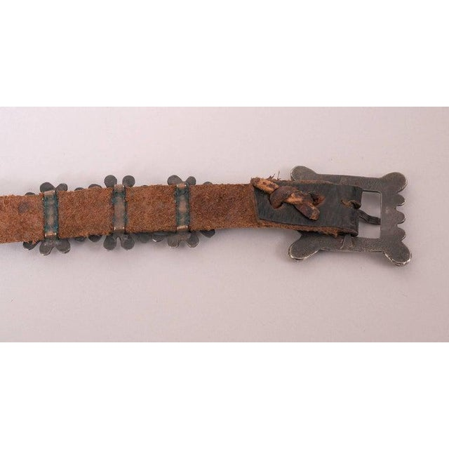 Metal Native American Silver and Turquoise Concho Belt With Original Leather Strap For Sale - Image 7 of 8