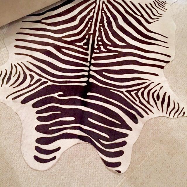 Zebra Stenciled Black Ivory Hide Rug - 6'10 X 5'7 - Image 4 of 9