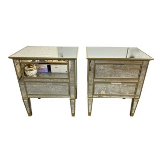 Pottery Barn Park Mirrored Nightstands, a Pair For Sale
