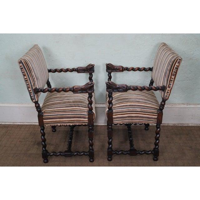 Antique Oak Lion Barley Twist Armchairs - A Pair - Image 3 of 10