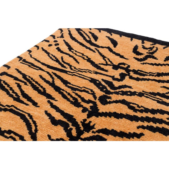 """Contemporary Wool Tibetan Tiger Rug by Carini-3'x5'10"""" For Sale - Image 3 of 8"""