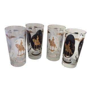 Vintage Black & White Independence Hall Highball Glasses - Set of 4 For Sale