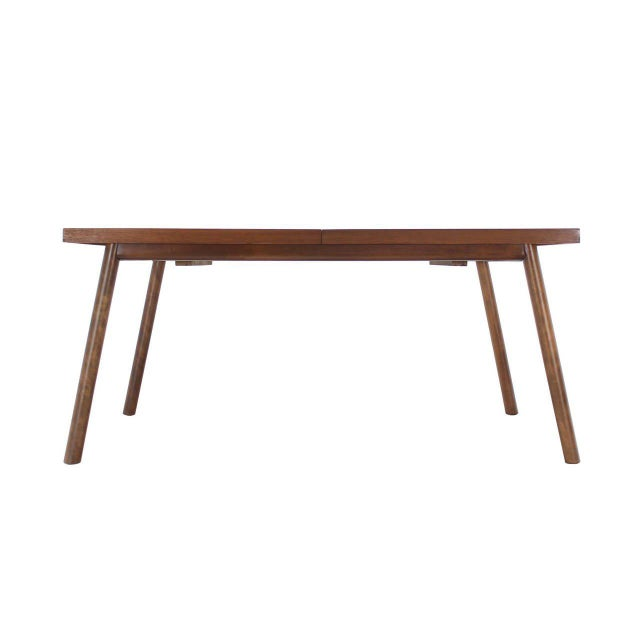Lacquer Robsjohn Gibbings Walnut Extention Dining Table with Two Leaves For Sale - Image 7 of 7