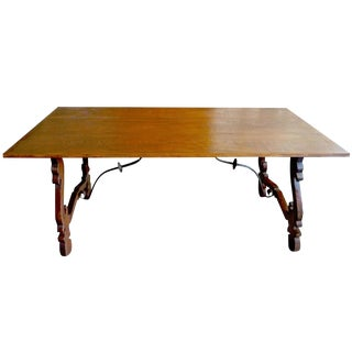 19th Century Spanish Farmhouse Stained Dining Table For Sale