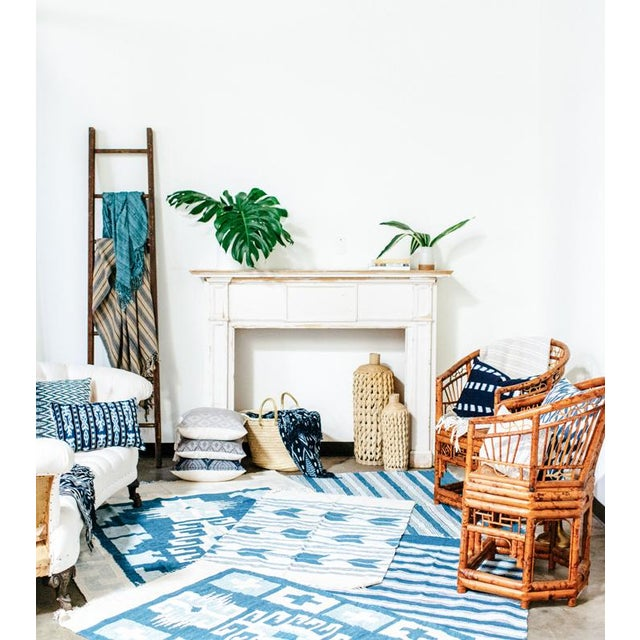 Blue & White Handwoven Chevron Rug - 2′6″ × 5′ - Image 5 of 5
