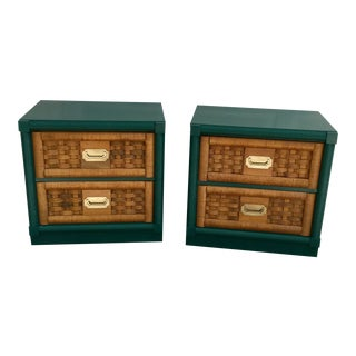 Vintage Woven Drawers Dixie Side Table Campaign - a Pair For Sale