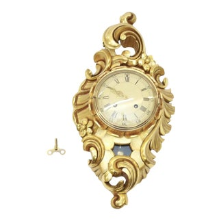 Swedish Giltwood Rococo Wall Hanging Clock For Sale