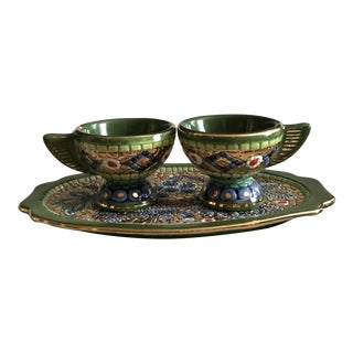 Vintage Deruta Small Tray and Two Cups For Sale