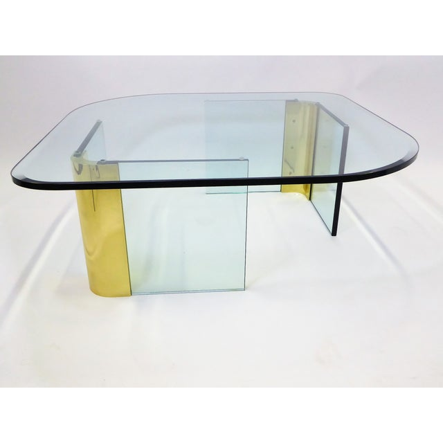 Hollywood Regency Modern Large 1970s Thick Glass & Brass Coffee Table For Sale - Image 3 of 13