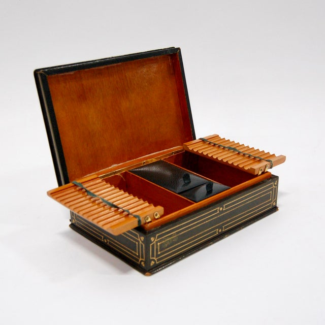 1930's Green Leather Cigarette & Cigar Humidor Tobacco Box - Image 3 of 8