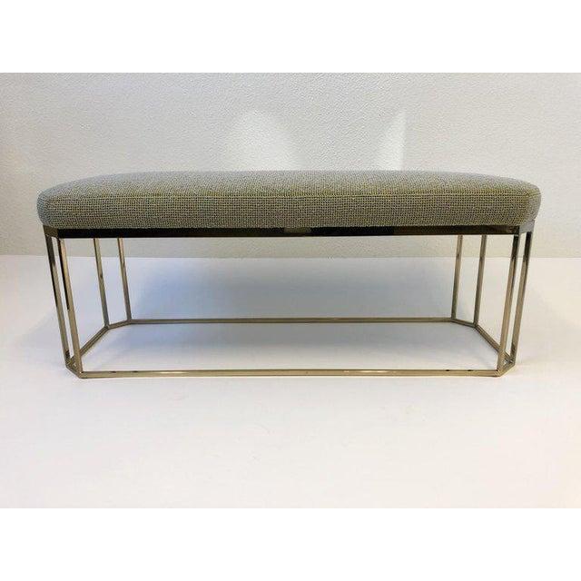 Milo Baughman Hexagonal Shape Brass Bench by Milo Baughman For Sale - Image 4 of 12