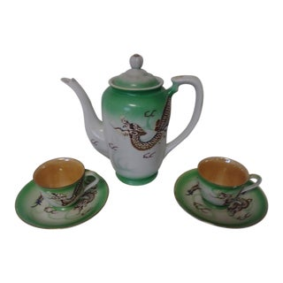Vintage Bone China Hand Painted Dragon Teapot, Cups and Saucers - Service for 2 For Sale
