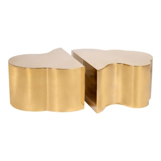Luca Coffee Tables in Gold - a Pair For Sale