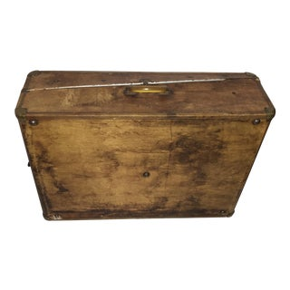 Antique Bakelite Handle Vellum Suitcase For Sale