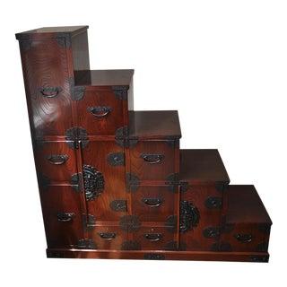 1900s Japanese Wooden Staircase Dresser