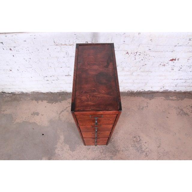 Antique 5-Drawer Wood File Cabinet For Sale - Image 9 of 11