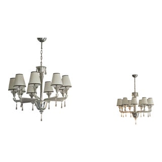 Barovier and Toso Venetian Murano Glass Chandeliers - A Pair For Sale