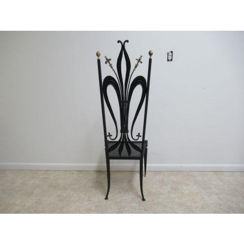 Vintage Hollywood Regency Bronze Accent Metal Tall Back Throne Desk Side Chair For Sale - Image 9 of 10